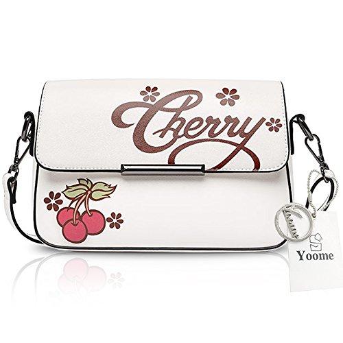 Yoome Preppy Style Printing Umschlag Tasche Leder für Schulmädchen Teen Strap Taschen für Frauen - Rosa Weiß