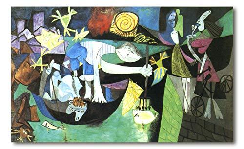 Cuadro Decoratt: Pesca nocturna en Antibes - Pablo Picasso 122x75cm. Cuadro de impresión directa.