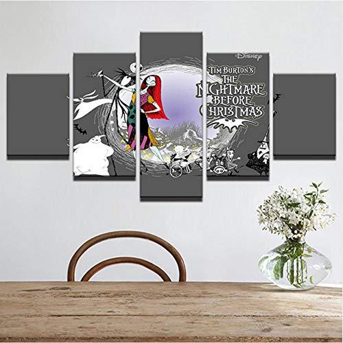Abstrakte Dekorative Halloween Gemälde 5 Panel Nightmare Before Christmas Moderne Bilder Wandkunst Rahmen ()