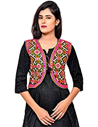 Banjara India Women's Poly Cotton Embroidered Kutchi Short Jacket/Koti