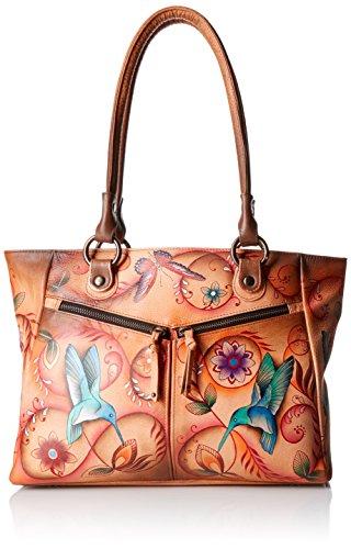 20% di sconto fino al 10 giugno , Anuschka borse dipinte a mano in pelle di lusso , sacchetto di spalla multicolore per le donne , 562 Flying Jewels Tan Flying Jewels