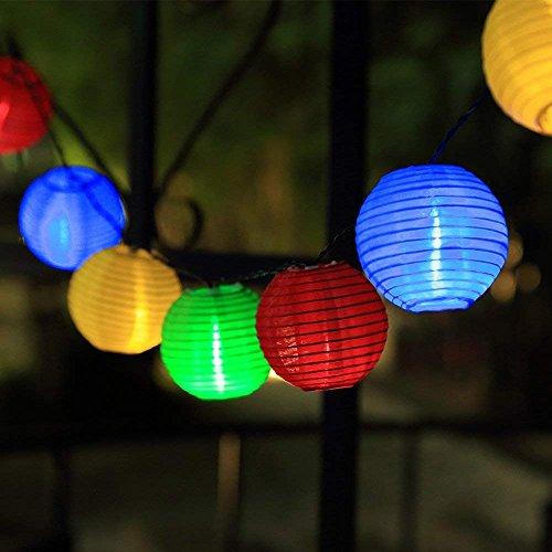 DeepDream Solar Lichterkette außen bunt Lampion Lantern 6 Meter 30 LED wasserdichte Gartenbeleuchtung Innen und Außenbeleuchtung Dekoration[Energieklasse A+++]