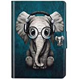 Felfy Kompatibel mit Hülle Amazon Kindle Paperwhite 2015 2014 2013 2012 Case Leder Schön Elefant Muster Flip Cover Case Tasche PU Leder Smart Cover Tasche SchutzHülle mit Automatischem Schlaf