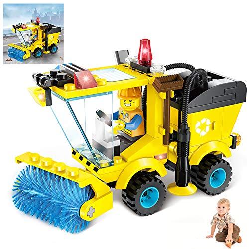 1Set Bausteine ??Auto Spielzeug Gebäude-Ziegelstein Technik Fahrzeug Montage Spielzeug-Set BAU-Geburtstags-Party Supplies Mini-Spielzeug-Autos für Kleinkinder Jungen Mädchen (Sweeper Car)