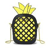 T-Antrix Ananas Form Portemonnaie Umhängetasche Schultertaschen Crossbody Tasche Ledertasche mit Reißverschluss und Zusatzkette Für Mädchen Frauen Schwarz