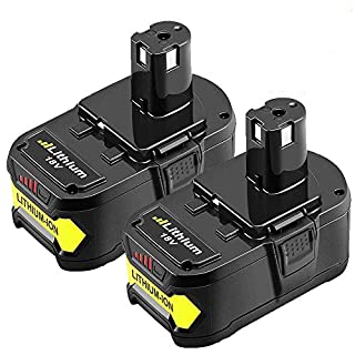 2 Packs 18V 5.0Ah RB18L50 Lithium Replacement Battery for Ryobi One+ P108 RB18L40 RB18L25 RB18L15 RB18L13 P108 P107 P122 P104 P105 P102 P103 Compact Cordless Drill Boetpcr