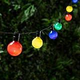 Lights4fun Guirlande Lumineuse Guinguette Solaire avec 16 Boules LED Multicolores 2,8m
