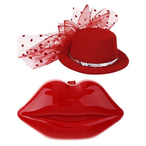Sharplace Rote Lippen-Kupplungs-Geldbeutel-Beutel-Cocktail-Abend-Partei-Ketten-Handtasche + Feder-Hut -