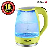 iBELL Electric Glass Kettle with LED Light, 1.7 L (Green, 2000 W)