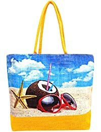 Sankh 19x13.5 Inch Coconut On Beach Yellow Handle Jute Bag-Jute Printed Fashion Shoppers Bags