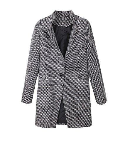 Manteau Femme Manches Longues Col Roulé Coat Slim Épissure Manteaux Pied de Poule Vintage Outerwear Hiver