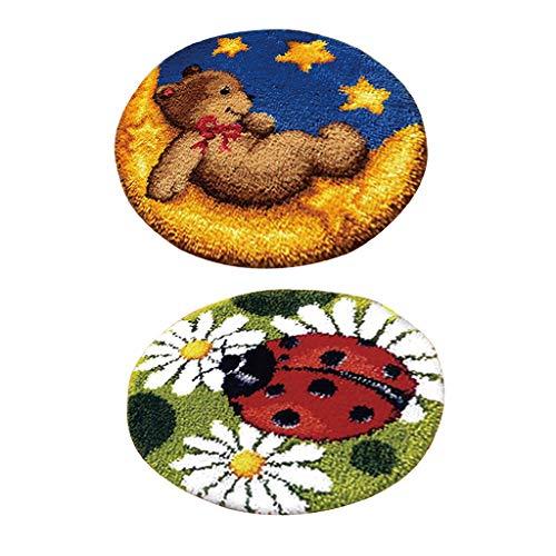 F Fityle 2 Sets Knüpfteppich für Kinder und Erwachsene zum Selber Knüpfen Teppich, Marienkäfer und Bär