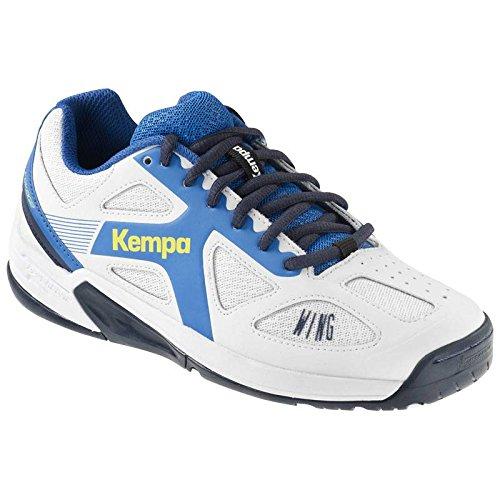 Kempa Unisex-Kinder Wing Junior Handballschuhe, Weiß (White/fair blue/Navy), 39 EU