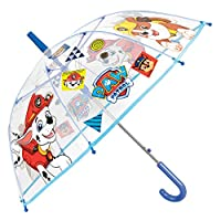 PERLETTI Paw Patrol Kids Umbrella - Bubble Stick Umbrella for Boys - Marshall and Rubble - Windproof and Resistant Dome Brolly - Automatic Opening - 5 to 7 Years - Transparent - Diameter 74 cm