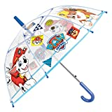 Paw Patrol Kinder Schirm für Jungen - Stockschirm mit Marshall, Chase, Rubble - Robuster und Windfester Regenschirm - 5 bis 7 Jahre - Durchmesser 74 cm - Perletti