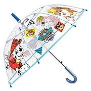 Ombrello Paw Patrol Bambino - Con stampa Marshall e Rubble - Ombrello lungo Cupola Trasparente in PVC e antivento - Apertura Automatica - 5/8 Anni - Diametro 74 cm - Perletti