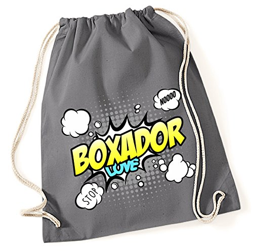 Boxer-comics (Turnbeutel - BOXADOR Designerhund Boxer Labrador Mix Hund - COMIC Cartoon Baumwoll Tasche Fun Siviwonder)