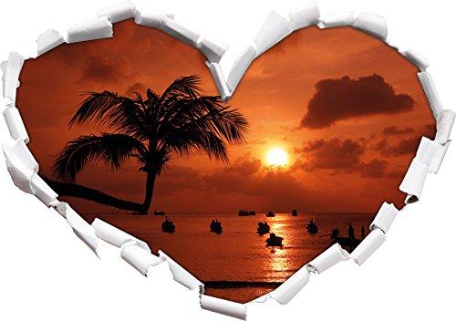 Palms at Forme de Coeur de Plage de rêve dans Le Regard 3D, Mur ou Un Autocollant de Porte Format: 62x43.5cm, Stickers muraux, Stickers muraux, Décoration Murale