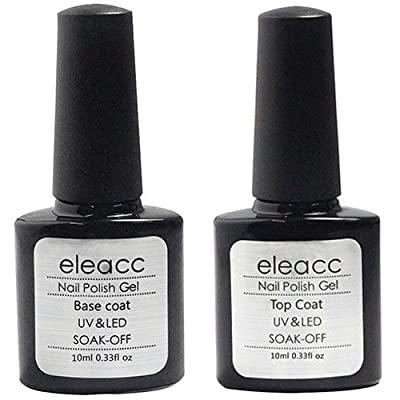 Eleacc 2 x 10ml Nail Art UV/LED Lamp Gel Polish Gelpolish Base Top Coat Primer Foundation Long-lasting