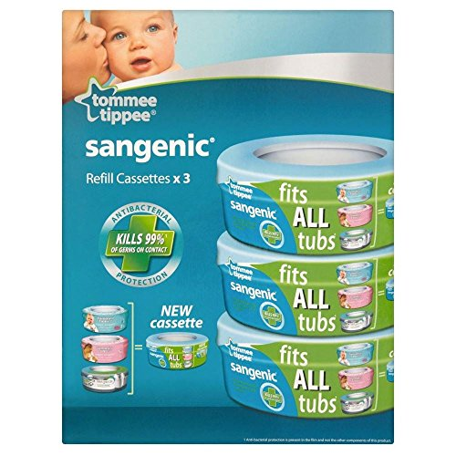 Tommee Tippee Sangenic Hygiene Plus Nappy Wrapper Refill Cassette 0mth + (3) - Packung mit 2