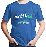 HARIZ  Jungen T-Shirt Gamer Evolution Gamer Gaming Pixel Nerd Level Inkl. Geschenk Karte Royal Blau 92/1-2 Jahre