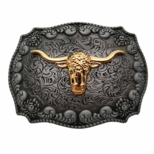YONE Golden Long Horn Bull Western Belt Buckle Gürtelschnallen -
