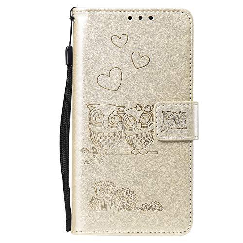 Miagon für OnePlus 6 Hülle,Geprägt Eule Blumen Herz Muster Pu Leder Ständer Flip Schutzhülle Tasche Brieftasche Etui mit Magnetverschluss Kartenhalter