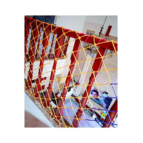 WLnet Child Safety Anti-fall Net, Color Balcony Loft, Stair Railing Protection Net Hand-woven Traditional Structure Nylon Rope Net Mesh 10mm * 6cm (Size: 2 * 3m) (Size : 4 * 9M)  [Anti-fall net preferred material] select high quality nylon material, healthy and environmentally friendly, strong and tough, durable [Anti-fall net double buckle weaving] hand knotted, not easy to off the line, beautiful and strong, [Anti-fall net surrounding rope] has a separate side rope design on four sides, solid fixed, wear-resistant, stable support net 1