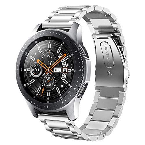 SUNDAREE Kompatibel mit Galaxy Watch 46MM Armband,22MM Silber Metallarmband Armband Edelstahl Uhrenarmband Ersatz für Samsung Galaxy Watch 46MM SM-R800/Samsung Gear S3 Frontier/Classic(46 Silber)