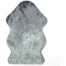 Piel de Imitación,Cozy sensación como real,excelente piel sintética de calidad alfombra de lana,Gris