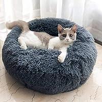 T-MIX Cama para Mascotas, Plush Donut Cama de Mascotas Nido colchón, para Gatos y Perros pequeños y medianos, Alivio de Las articulaciones y sueño Mejorado (70cm de diametro, Gray)