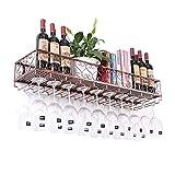 DYFYMX Casier à vin autoportant Support de Verre de vin à l'envers Bar à vin Bar Bar Support de Verre à vin Cintre gobelet Suspendu Verre à vin Rouge (Color : Bronze, Size : 80 * 25CM)