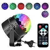 Discokugel Lichteffekte Disco Partylicht, ROOROO Disco Beleuchtung Ball für kinder Mit 7 Farbe RGB 3W Lampe Beleuchtung Mit Fernbedienung für Festival Bar Club Party Karaoke Weihnachten Hochzeit