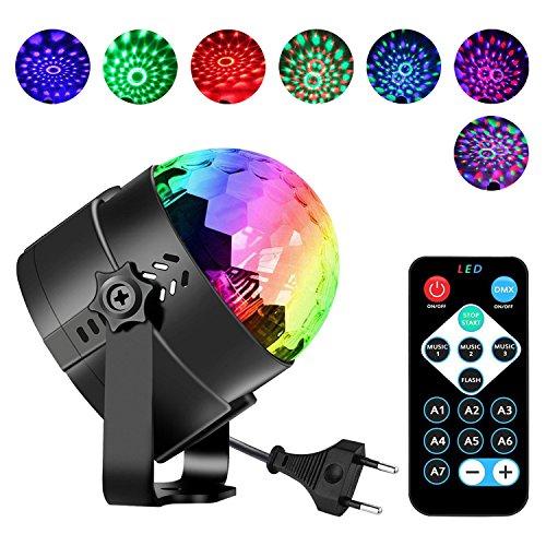 Luces de Discoteca Zgnen Bola de Discoteca Luces 7 Colores RGB Sonido Activado DJ Etapa Bola de Cristal de Luz con Mando a Distancia Giratorio Efecto Luminoso Para Fiesta Baile Karaoke KTV Bar