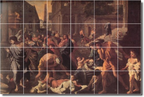 NICOLAS POUSSIN HISTORICA DUCHA MURAL DE AZULEJOS 26  32X 48CM CON (24) 8X 8AZULEJOS DE CERAMICA
