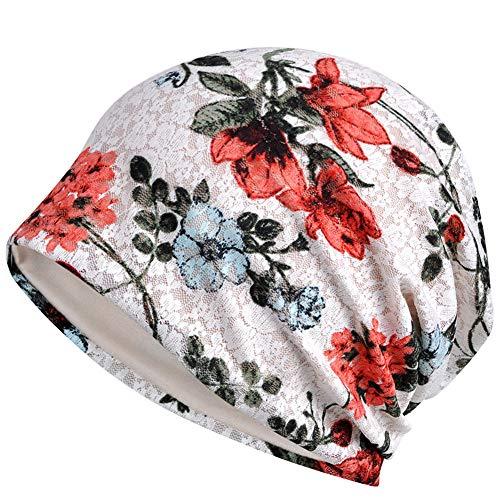 CHIRORO Damen Slouch Turban Hut Bandana Kopftuch Spitze hohl Blumen Muslimischer Hut atmungsaktiv Chemo Beanie Cap Head Wraps Kopftücher Stirnband für Chemotherapie, Krebs,Weiß Slouch Hut