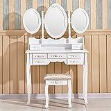 Tason Elegant Dressing Table with 3 Foldable Oval Mirrors and Stool Set, Vanity Bedroom Dresser Makeup Desk (7 Drawers, White)