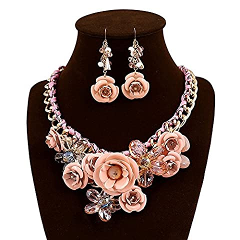 truecharms Women's Luxury Fashion Jewelry Sets Evening Party African Beads Jewelry Set Suspension Crystal Flower Earring Necklace Set