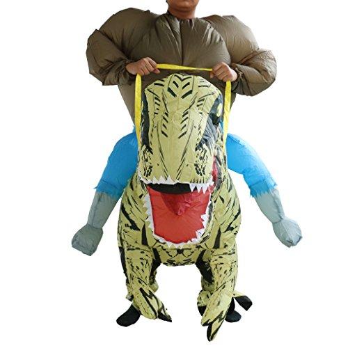 MagiDeal Aufblasbar Blowup T-rex Dinosaurier Reiten Kostüm Ganzanzug Suit Outfit HalloweenParty