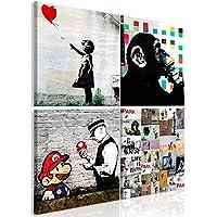 Vlies LEINWAND BILD Banksy Abstrakt moderne lustig WANDBILDER KUNSTDRUCK XXL