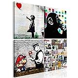 murando - Bilder Banksy 40x40 cm Vlies Leinwandbild 4 Teilig Kunstdruck modern Wandbilder XXL Wanddekoration Design Wand Bild - schwarz weiß AFFE Mario i-B-0057-b-a