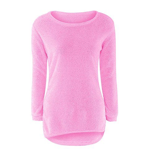 Pullover Sweater Bluse Lange Ärmel Damen Xinan Solide O-Hals Einfarbig Warm Hoodie (XXXL, Hot pink) (Fleece-v-hals-tunika)