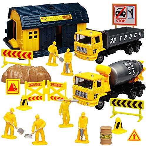 Motormax 20 TLG. Set: Metall Baustelle mit Fahrzeugen und Zubehör - Baustelle Matchbox