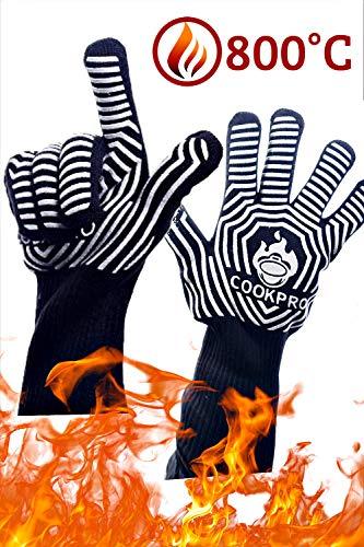 Guanti da Barbecue CookPro, Guanti Cucina da Forno con Resistenza al Calore Fino a 800°C, Per BBQ, Lavoro e Giardinaggio, Guanti Impermeabili e Ignifughi Uomo Donna Adatti Anche Per Liquidi Caldi