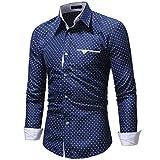 Dooxii Uomo Primavera Autunno Casuale Maniche Lunghe Camicie Moda attività Commerciale Slim Fit Pentagramma Stampa Camicia Blu Navy 3XL