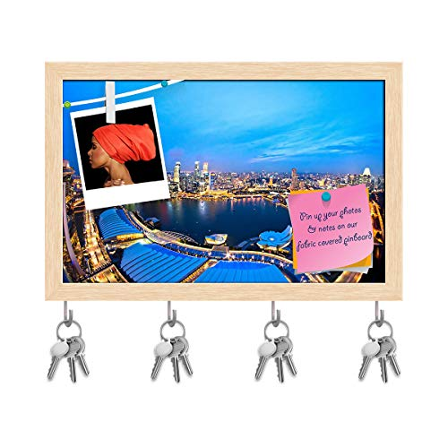 ArtzFolio Fish Eye View of Singapore City Skyline at Sunset Key Holder Hooks | Notice Pin Board | Natural Brown Frame 8.9 X 6Inch Fisheye-pin