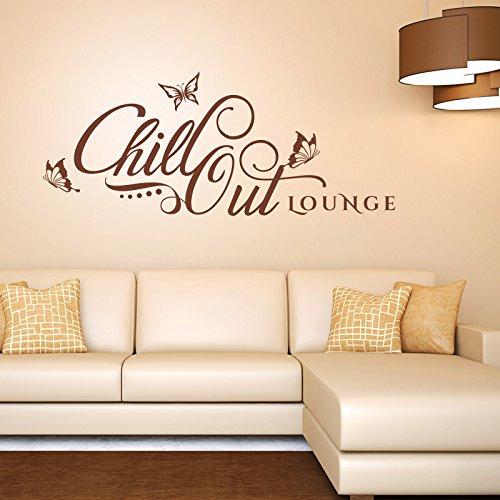 Wandtattoo Chill Out Lounge | Retro Design schön Wand Bild entspannen Schlafzimmer Orange 034 146 x 60 cm