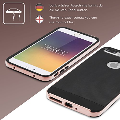 Urcover® Apple iPhone 7 Plus Schutz-Hülle in Rot [ Carbon Optik ] Hybrid 2 teiliges Case | TPU PC Cover Case robust Handyschutz | Smartphone Zubehör Tasche Rose Gold