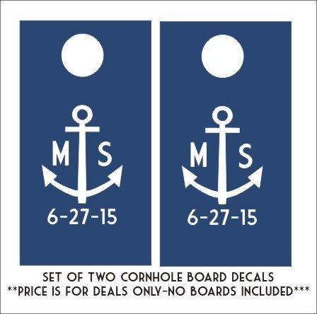 d Aufkleber Set von zwei Aufkleber Personalisierte Hochzeit Cornhole Board Aufkleber Custom Datum Anker DIY Hochzeit Aufkleber (Diy-cornhole-set)