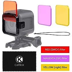 Kit de filtres de plongée pour Go Pro HERO 5 / 4 Session - améliore le rendu des couleurs pour la vidéo et photographie sous marine - couleurs vives, contraste optimisé, vision de nuit (3 filtres (Rouge + Magenta + Jaunes), GoPro HERO 5 / 4 Session)